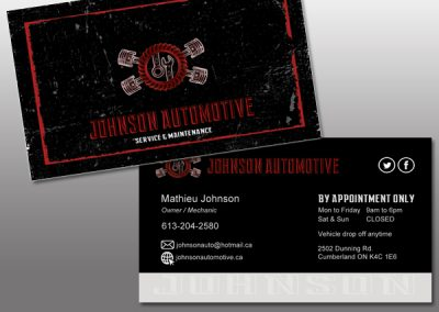 Business cards/Cartes d'affaire - Johnson Automotive